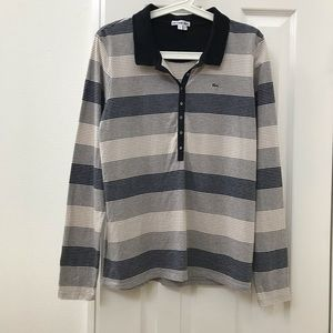 Lacoste striped v-neck collared long sleeve shirt